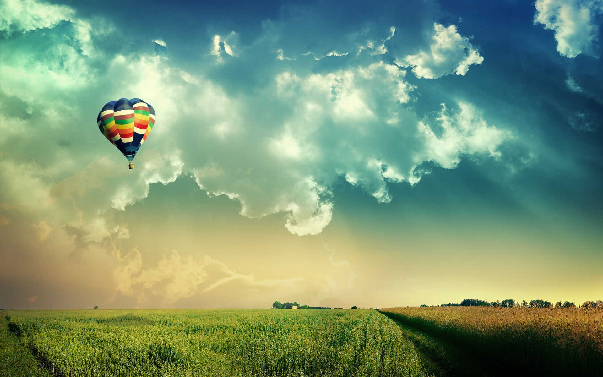 A colorful hot air balloon in the sky represents possibility and the coming true of dreams.